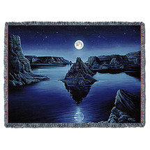 Moon Spirit - Kurt C Burmann - Cotton Woven Blanket Throw - Made in the USA (72x54) Tapestry Throw