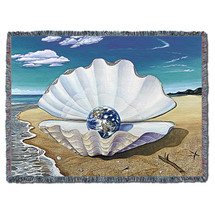 Mother of Pearl - Kurt C Burmann - Cotton Woven Blanket Throw - Made in the USA (72x54) Tapestry Throw