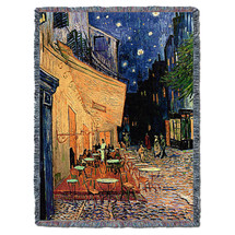 Cafe Terrace at Night - Vincent van Gogh - Cotton Woven Blanket Throw - Made in the USA (72x54) Tapestry Throw