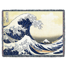 Great Wave of Kanagawa - Katsushika Hokusai - Cotton Woven Blanket Throw - Made in the USA (72x54) Tapestry Throw