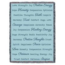 Positive Word Hug - Light Teal - Tapestry Throw
