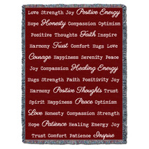 Positive Word Hug - Red - Tapestry Throw