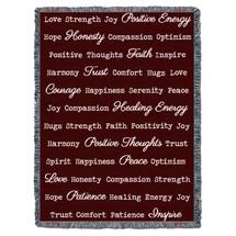 Positive Word Hug - Brown - Tapestry Throw