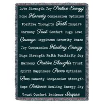 Positive Word Hug - Dark Teal - Tapestry Throw
