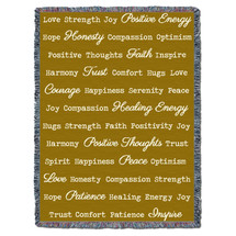Positive Word Hug - Gold - Tapestry Throw
