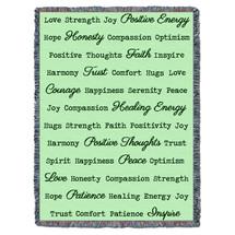Positive Word Hug - Mint - Tapestry Throw