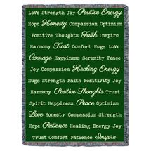Positive Word Hug - Green - Tapestry Throw