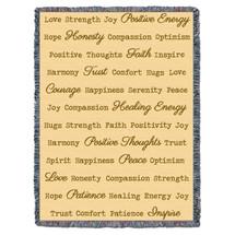 Positive Word Hug - Cream - Tapestry Throw