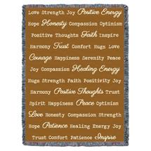 Positive Word Hug - Dark Gold - Tapestry Throw