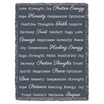 Positive Word Hug - Dark Grey - Tapestry Throw