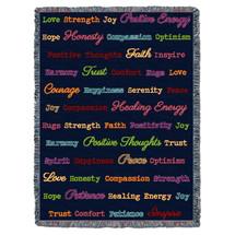 Positive Word Hug - Blue Herringbone Multicolor - Tapestry Throw
