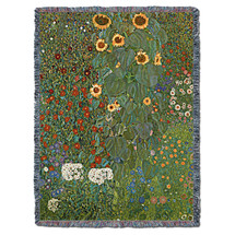 Farm Garden with Sunflowers - Gustav Klimt - Cotton Woven Blanket Throw - Made in the USA (72x54) Tapestry Throw
