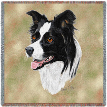 Border Collie - Robert May - Lap Square Cotton Woven Blanket Throw - Made in the USA (54x54) Lap Square