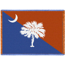 South Carolina Flag - Palmetto Moon Orange and Blue - Cotton Woven Blanket Throw - Made in the USA (70x50) Afghan