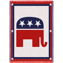 Republican Party Elephant GOP Symbol - Cotton Woven Blanket Throw - Made in the USA (70x50) Afghan