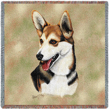 Cardigan Welsh Corgi - Robert May - Lap Square Cotton Woven Blanket Throw - Made in the USA (54x54) Lap Square