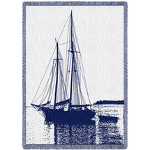 Sailboat - Cotton Woven Blanket Throw - Made in the USA (70x50) Afghan