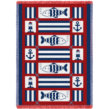 Nautical Fish - Cotton Woven Blanket Throw - Made in the USA (70x50) Afghan