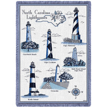 Lighthouses of North Carolina - Curritick, Cape Lookout, Hatteras, Bald Head Island, Ocracoke, Bodie - Cotton Woven Blanket Throw - Made in the USA (70x50) Afghan