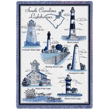 Lighthouses of South Carolina - Cockspur, Hunting, Morris, Georgetown, Haig's Point , Harbor Town - Cotton Woven Blanket Throw - Made in the USA (70x50) Afghan