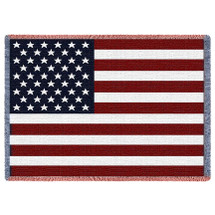 United States American Flag - Cotton Woven Blanket Throw - Made in the USA (70x50) Afghan