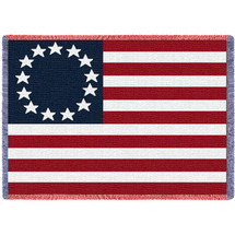 United States - Betsy Ross American Flag - Cotton Woven Blanket Throw - Made in the USA (70x50) Afghan