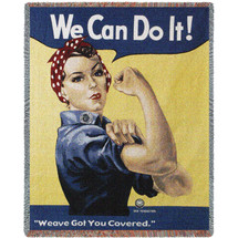 Rosie The Riveter - We Can Do It! - Tapestry Throw
