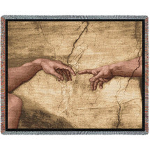 Hands of God and Adam - Sistine Chapel - Creation of Adam - Michelangelo - Cotton Woven Blanket Throw - Made in the USA (72x54) Tapestry Throw