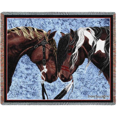 Warriors Truce Horses- Tapestry Throw