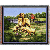 Golden Retriever with Puppies - Bob Christie - Cotton Woven Blanket Throw - Made in the USA (72x54) Tapestry Throw
