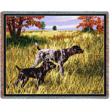 Now We Wait German Shorthaired Pointer - Bob Christie - Cotton Woven Blanket Throw - Made in the USA (72x54) Tapestry Throw