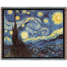 Starry Night - Vincent van Gogh - Cotton Woven Blanket Throw - Made in the USA (72x54) Tapestry Throw