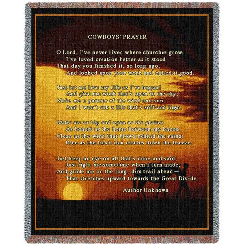 Cowboy Prayer - Tapestry Throw
