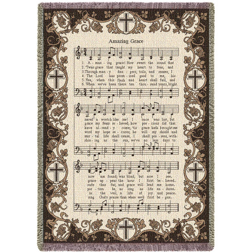 Amazing Grace How Sweet The Sound - Sympathy - Cotton Woven Blanket Throw - Made in the USA (70x50) Afghan