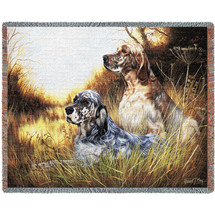 English Setter - Robert May - Cotton Woven Blanket Throw - Made in the USA (72x54) Tapestry Throw