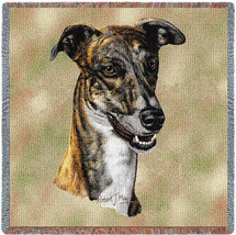 Greyhound - Robert May - Lap Square Cotton Woven Blanket Throw - Made in the USA (54x54) Lap Square