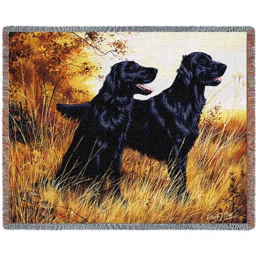 Flat Coated Retriever - Robert May - Cotton Woven Blanket Throw - Made in the USA (72x54) Tapestry Throw