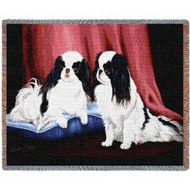Japanese Chin - Robert May - Cotton Woven Blanket Throw - Made in the USA (72x54) Tapestry Throw