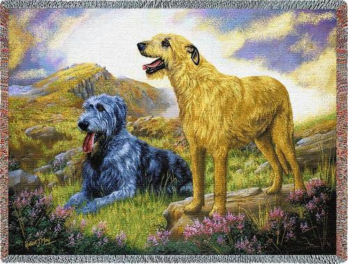Irish Wolfhound - Robert May - Cotton Woven Blanket Throw - Made in the USA (72x54) Tapestry Throw