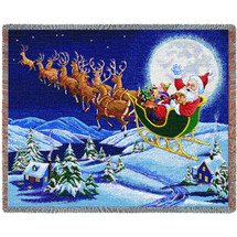 Christmas Magic - Cotton Woven Blanket Throw - Made in the USA (72x54) Tapestry Throw