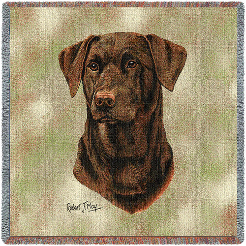 Labrador Retriever Chocolate Lab - Robert May - Lap Square Cotton Woven Blanket Throw - Made in the USA (54x54) Lap Square