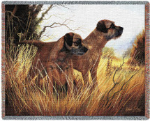 Border Terrier - Robert May - Cotton Woven Blanket Throw - Made in the USA (72x54) Tapestry Throw