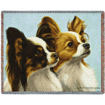 Papillion - Bob Christie - Cotton Woven Blanket Throw - Made in the USA (72x54) Tapestry Throw