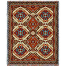 Kilim - Southwest Native American Inspired Tribal Camp - Cotton Woven Blanket Throw - Made in the USA (72x54) Tapestry Throw