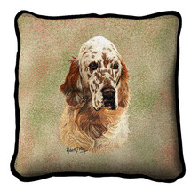 Pure Country Weavers - English Setter Textured Hand Finished Elegant Woven Throw Pillow Cover 100% Cotton Made in the USA Size 17x17 Pillow