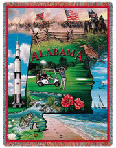 State of Alabama - Cotton Woven Blanket Throw - Made in the USA (72x54) Tapestry Throw