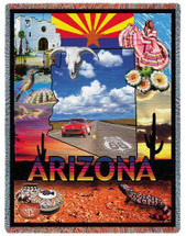 State of Arizona - Cotton Woven Blanket Throw - Made in the USA (72x54) Tapestry Throw