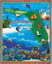 State of Florida - Cotton Woven Blanket Throw - Made in the USA (72x54) Tapestry Throw