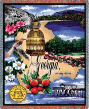 State of Georgia - Cotton Woven Blanket Throw - Made in the USA (72x54) Tapestry Throw
