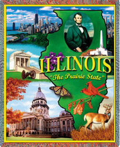 State of Illinois - Cotton Woven Blanket Throw - Made in the USA (72x54) Tapestry Throw